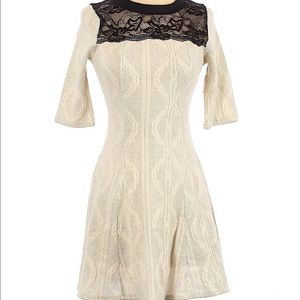 {Monteau} lace knit crew fitted mini dress S